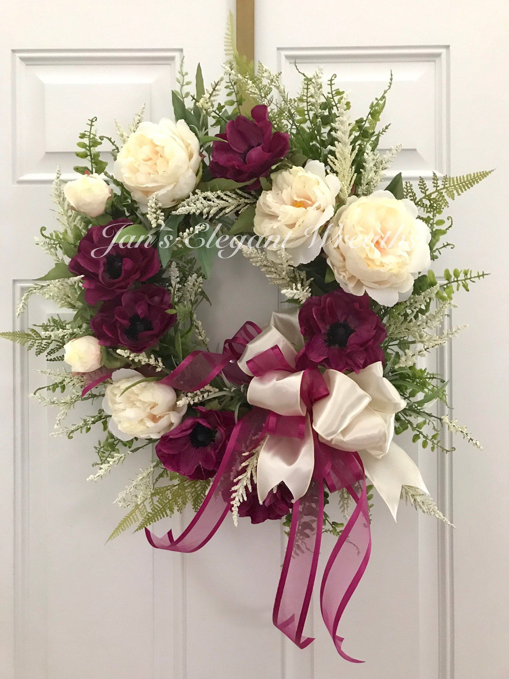 Photo of Spring wreath. Summer wreath. Peony wreath. Poppies. Mother's Day Wreath. Cottage wreath. Wedding wreath. Spring Wreath for Front Door.