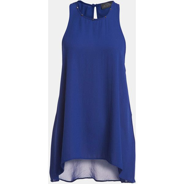 ASTR Stud Detail Open Back High/Low Tank (72 BRL) ❤ liked on Polyvore featuring tops, shirts, dresses, tank tops, vestidos, studded shirt, sheer top, cone tank, blue tank and blue shirt