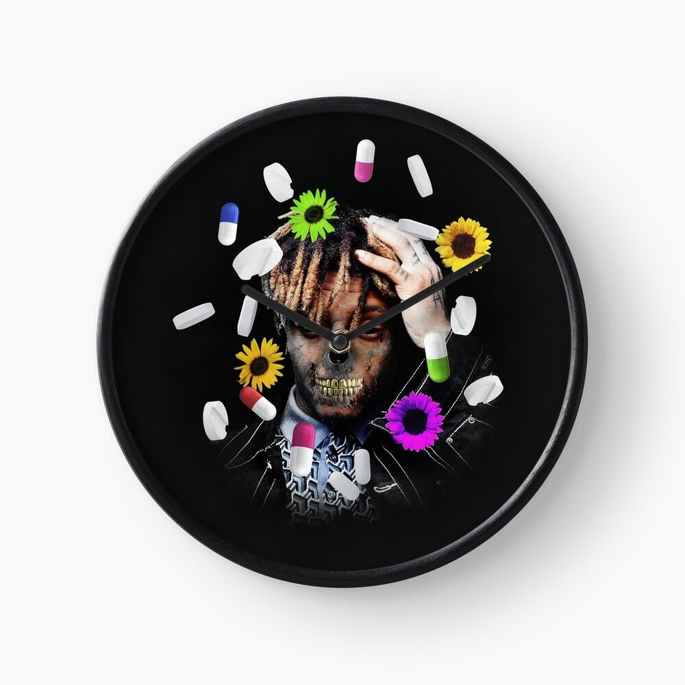 Juice Wrld Clock By Sasharusso Art Prints Hand Coloring Skull Design