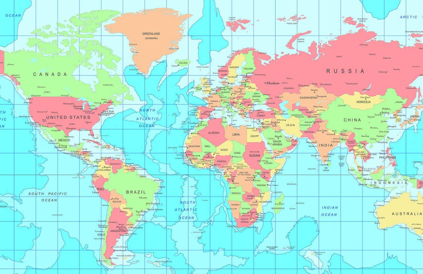 Capital City World Map Wallpaper Mural World Map Wallpaper