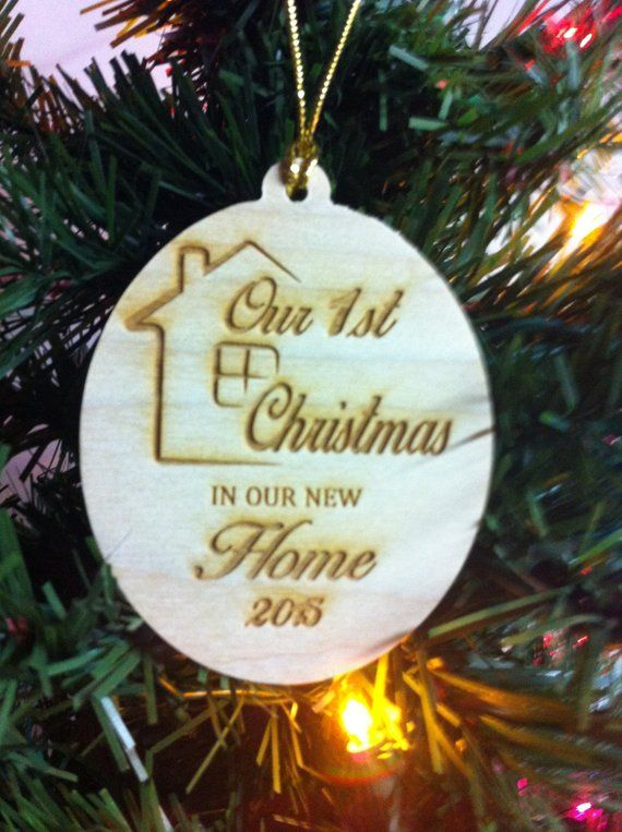 64a52d4c0dbf5 Our First Christmas In Our New Home Rustic Wood Christmas Ornament ...