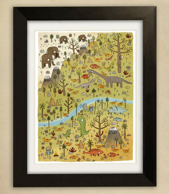 Dinosaurs Illustration -Children's Art Print #dinosaurillustration