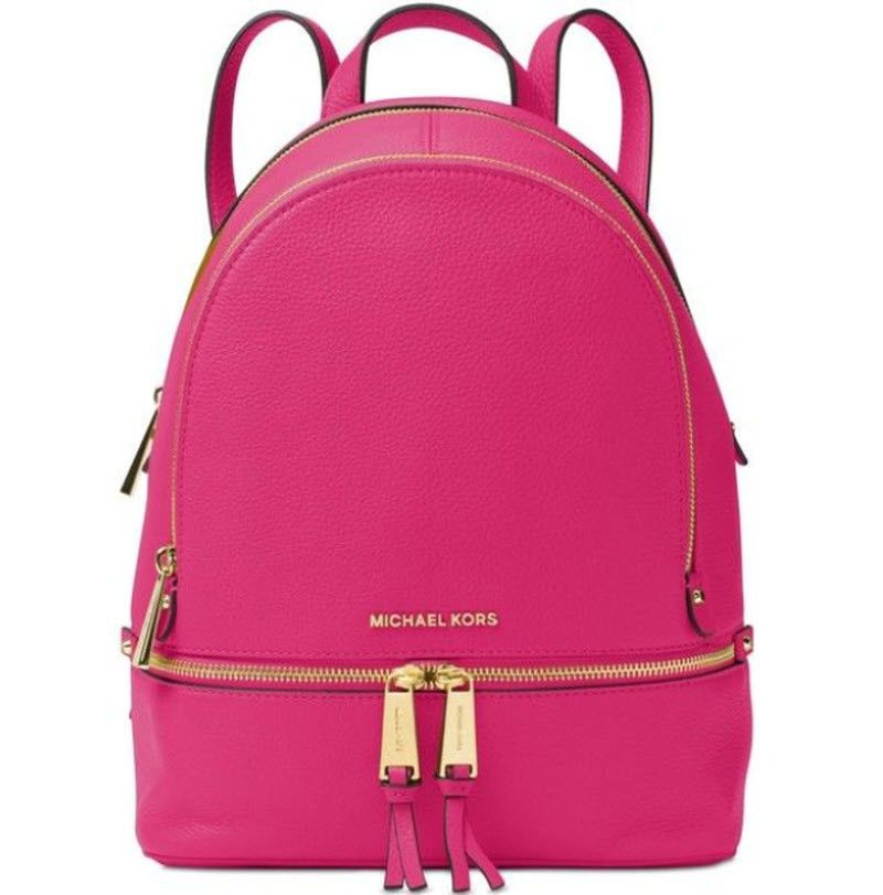 c6239dc97f71 Michael Kors Rhea Zip Small Leather Backpack ultra pink NWT in Pkg # MichaelKors #Backpack