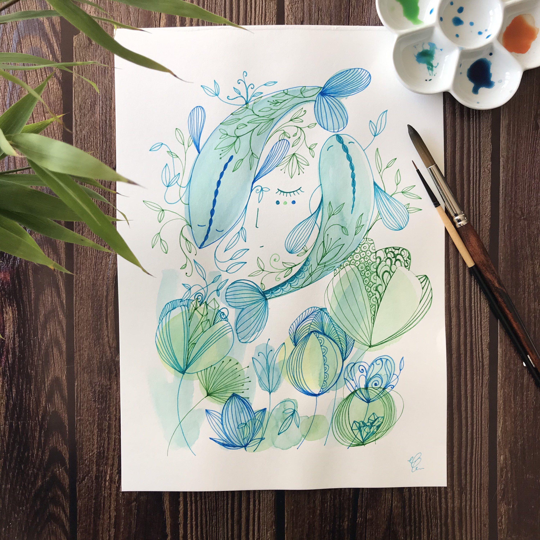 Aquarelle Originale Illustration A4 Peinture Intuitive