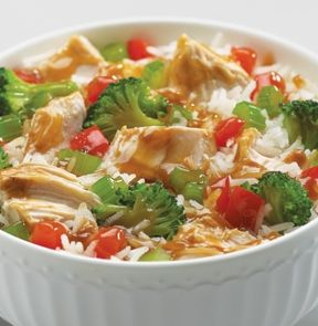 CHICKEN TERIYAKI - Double Decker™ Microwaveable Bowl. This meal-in-a-bowl is only 290 calories per entrée and is ready in 7 minutes! #mmmeatshops
