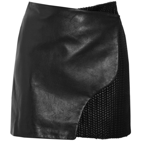 Maiyet Leather and braided calf hair wrap skirt ($1,995) found on Polyvore