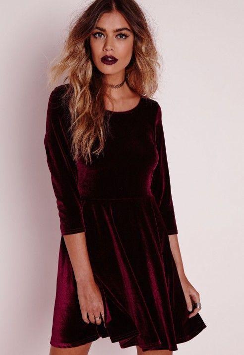 a9a163a5b9 3 4 Sleeve Velvet Skater Dress Oxblood - Dresses - Skater Dresses -  Missguided