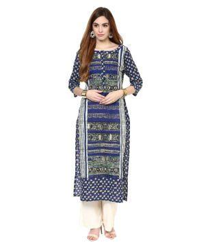 e149b3bf1 Jaipur Kurti Blue Cotton Straight Kurti Price in India - Buy Jaipur Kurti  Blue Cotton Straight Kurti Online at Snapdeal