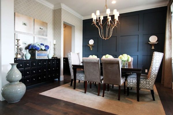 Commanding A Presence Dark Accent Walls That Make A Statement Dining Room Accents Dining Room Accent Wall Dining Room Contemporary