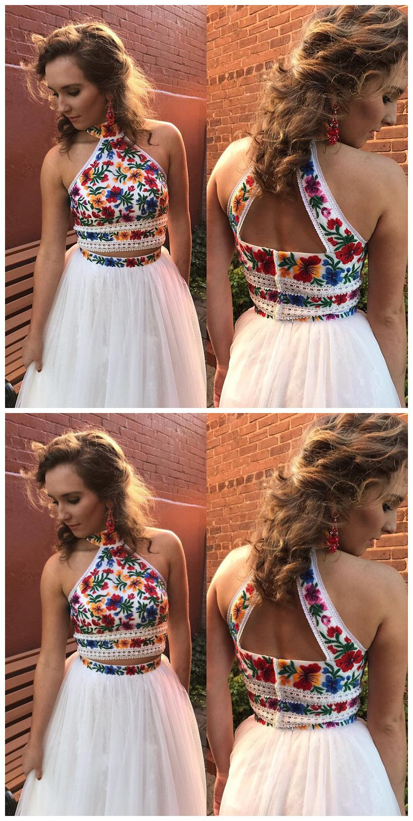 High neck two piece floral embroidery white long prom dressprom