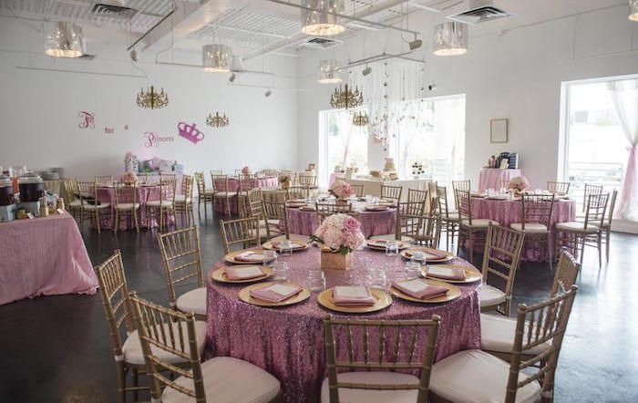 Royal Pink And Gold Baby Shower Table Setting, Room   Baby Shower Ideas    Themes   Games
