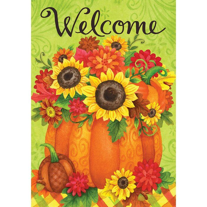 Custom Decor Pumpkin Floral 2 Sided Polyester 18 X 12 In Garden Flag Wayfair Garden Flag Stand Custom Decor Fall Flags