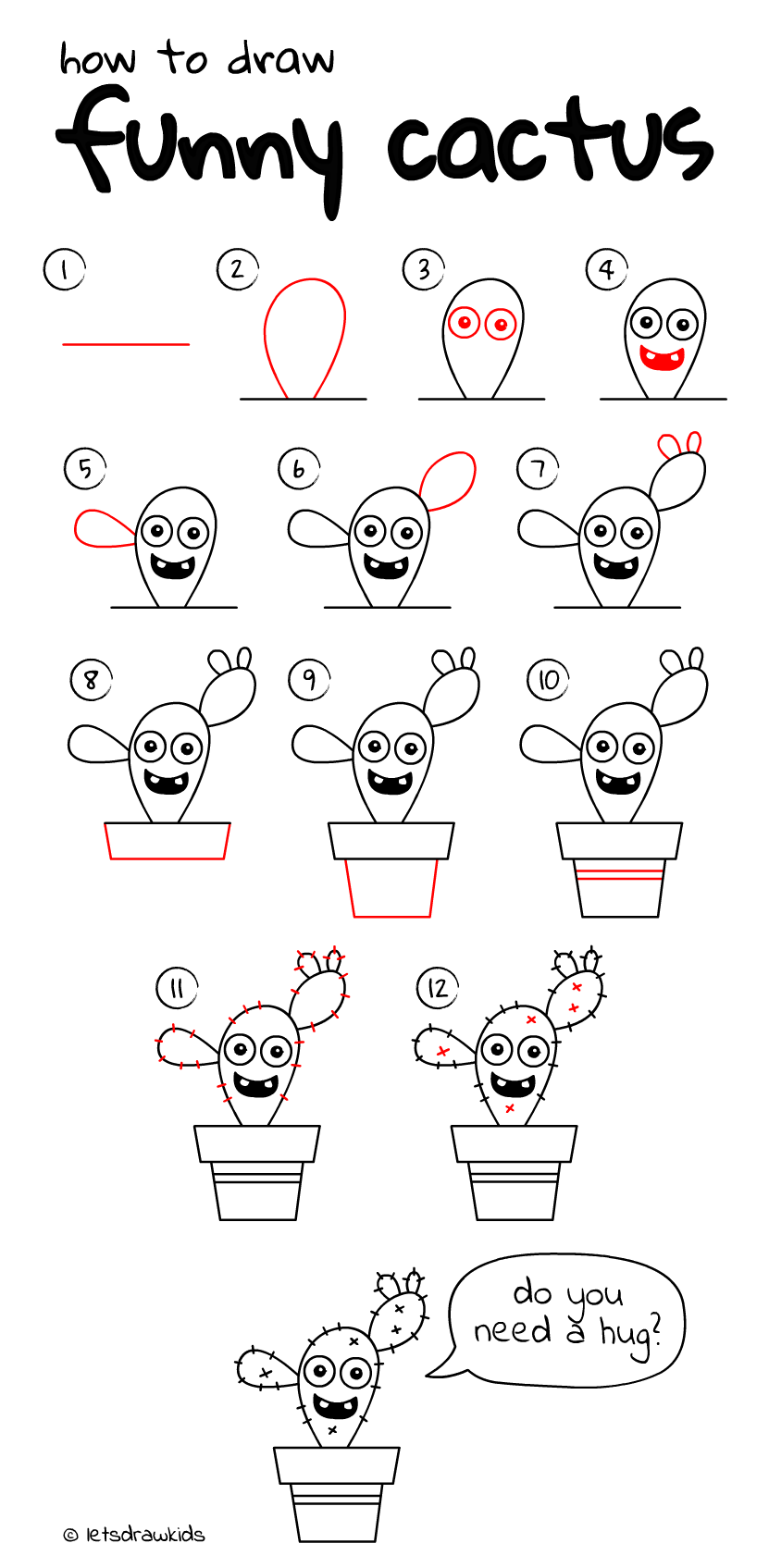 How To Draw Funny Cactus Easy Drawing Step By Step Perfect For Kids Let S Draw Kids Http Letsd Drawing Videos For Kids Easy Drawing Steps Simple Doodles
