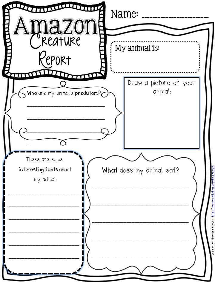 Creature report graphic organizer 2nd ELA Pinterest Parents