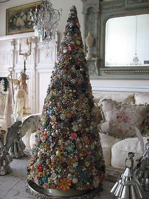 Omg Rare Old Cone Shaped Christmas Tree Covered With Vintage