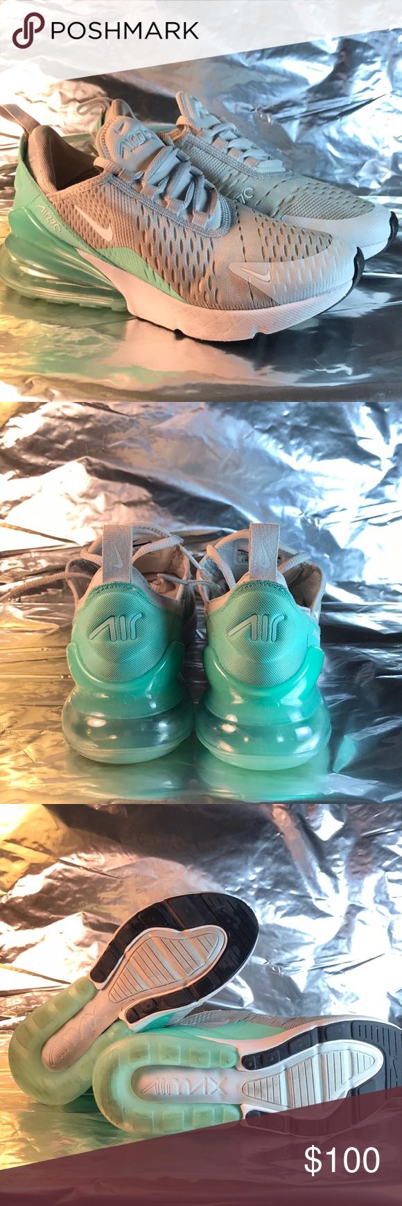 """f531d42c0337e9 Nike Air Max 270 """"Big Kids"""" Pure Platinum  White  Emerald Rise Nike"""