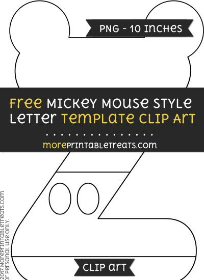 free mickey mouse style letter z template clipart mickey mouse
