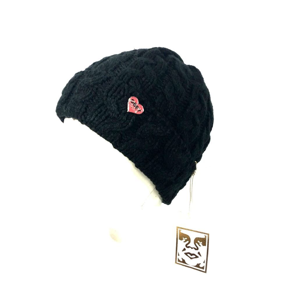 62c29aa9ed3 Obey Womens Black Knit Wendy Beanie Winter Hat  obey  Beanie ...
