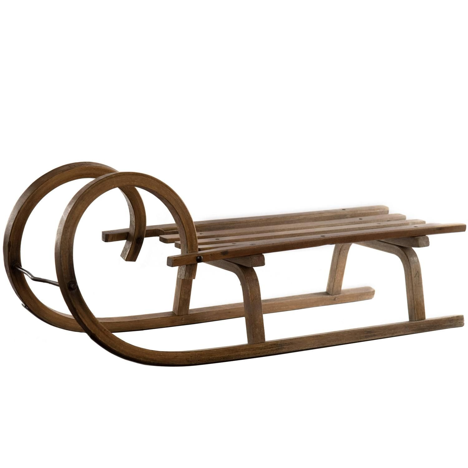 19th Century Grindelwald Ram S Horn Wooden Sled From A Unique