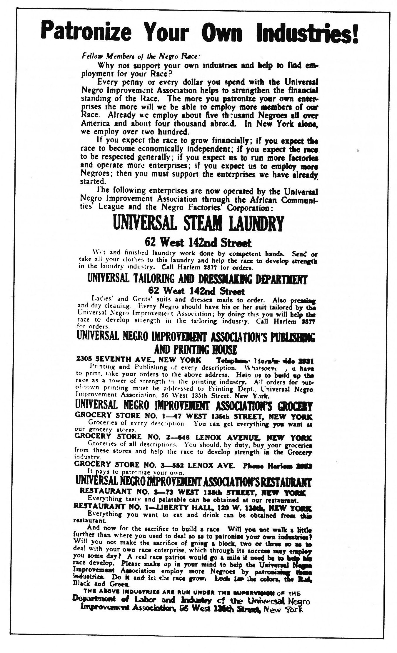 Harlem Businesses Advertisement From The Negro World Marcus Garvey  Harlem Businesses Advertisement From The Negro World Marcus Garvey  Unia  Papers Custom Writing Companies also Annotated Bibliography Online Source  Research Paper Vs Essay