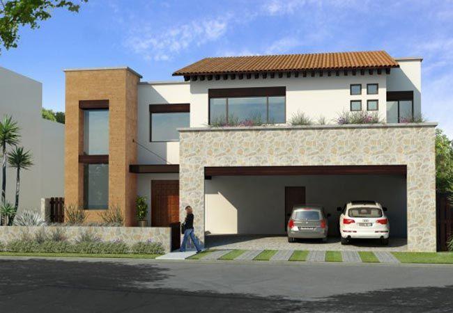 Fachadas de casas de dos niveles con ventanas peque as for Ventanas para fachadas de casas modernas
