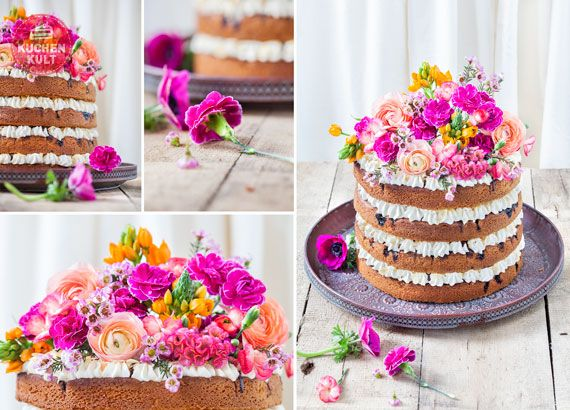 hochzeitstorten trend teil 2 naked cake mit flower power rustikale hochzeit rustic wedding. Black Bedroom Furniture Sets. Home Design Ideas