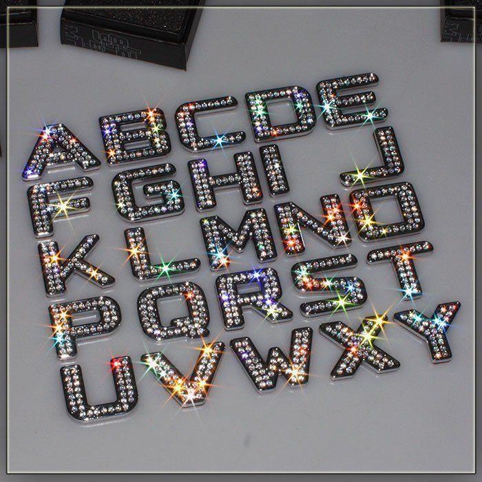 Luxury Crystal Diamond Words Metal Letter Stickers For Car - Letter stickers for cars