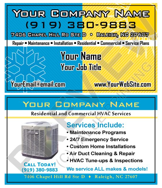 Bright Colorful Hvac Business Cards From Value Printing Hvac