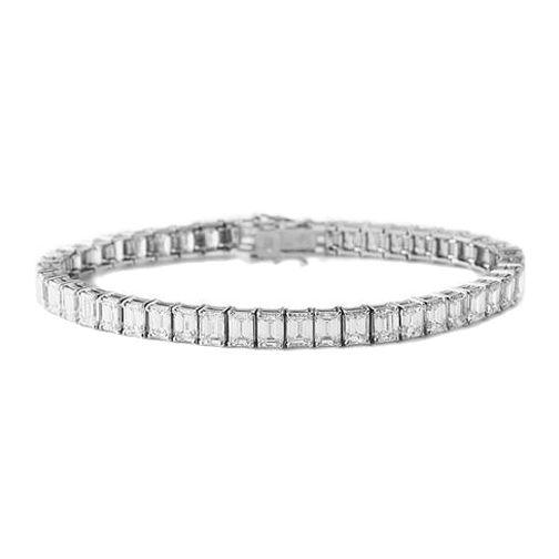 32 Carat Emerald Diamond Tennis Bracelet G H VS