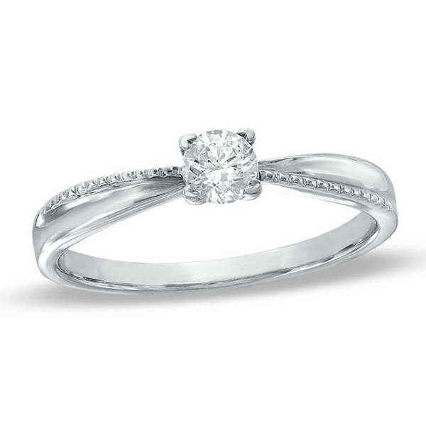 1 6 Ct Diamond Solitaire Promise Ring In 10k White Gold In 2020 Pretty Engagement Rings Gold Diamond Wedding Band Peoples Jewellers