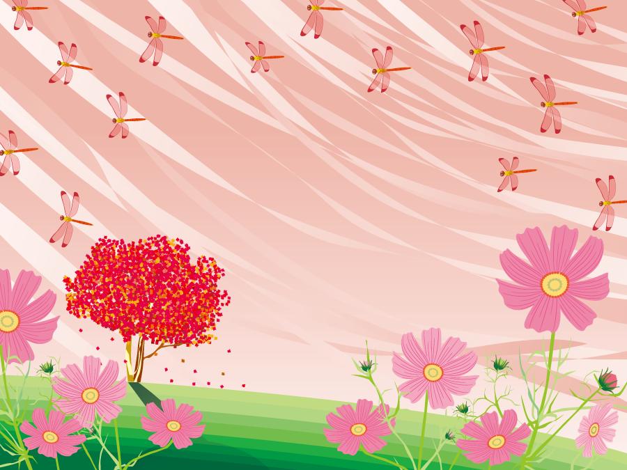 フリーイラスト 赤とんぼとコスモスの花の背景 月見 フリーイラスト