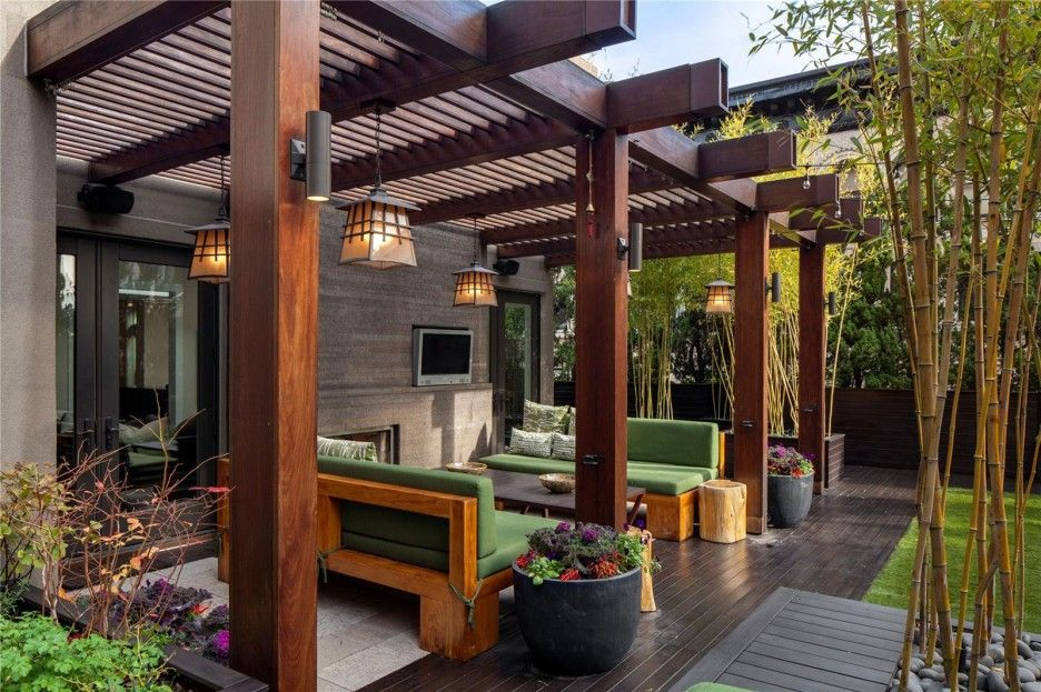 Modern Fresh Open Patio Design With Sturdy Wooden Beams Pillars And Solar Blinds Ceiling Black