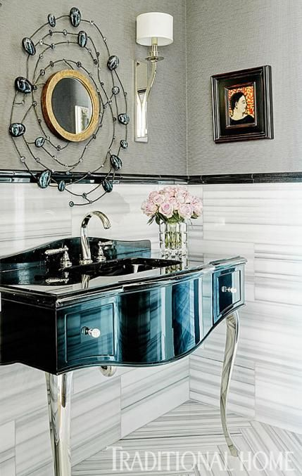 Graphic Tile And Elegant Silver Legs On A Vanity Sink Kick This Powder Room Up A Notch