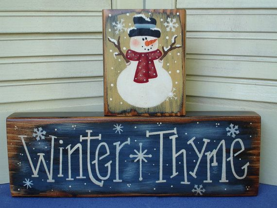 primitive+snowman+paintings | Primitive Winter Snowman Shelf Sitters Wood PAFAWW