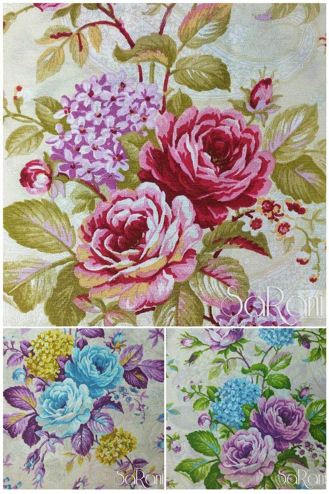 Dettagli su tessuto arredamento loneta floreale cuscino for Tessuti inglesi per arredamento