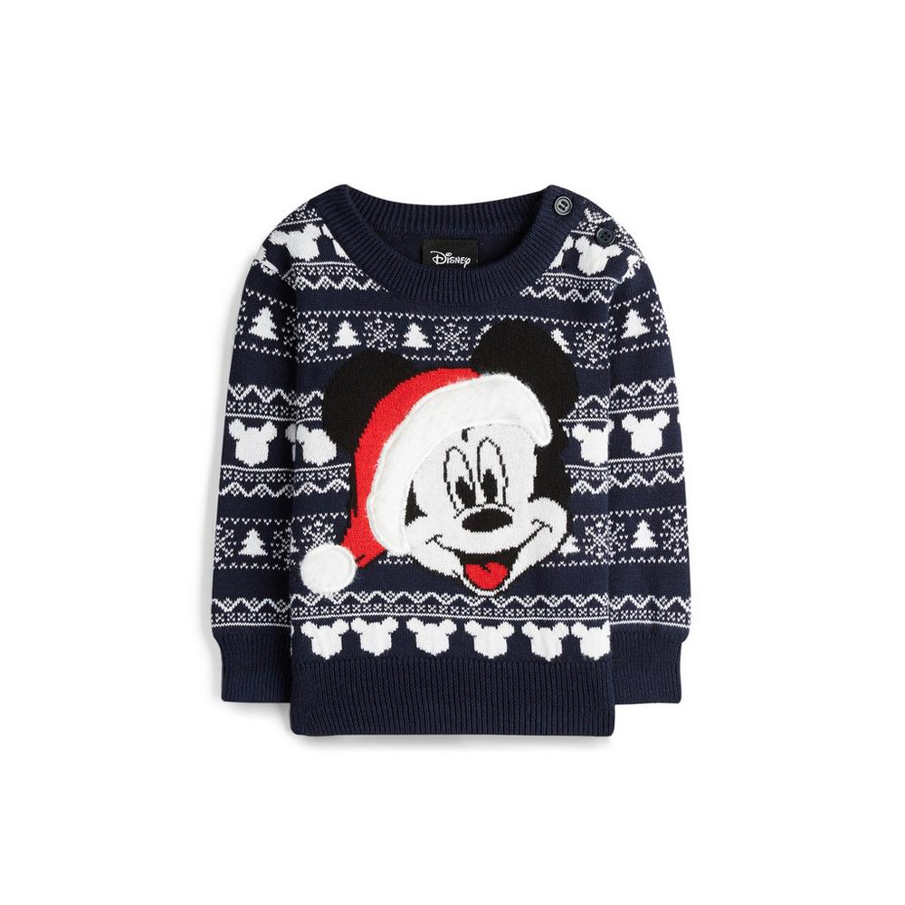 Baby Boy Mickey Mouse Black Christmas Jumper Baby Boy