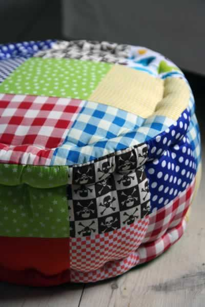 Patchwork Pouffe  -- love this!  Great for flour cushions