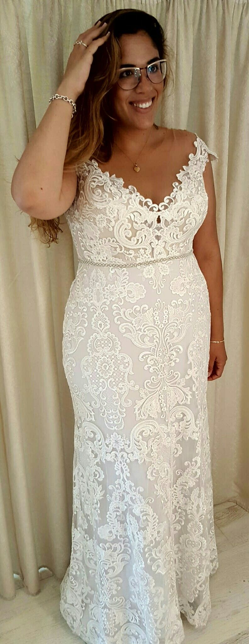 Plus size white wedding dresses  Plus size bride in Adel lace mermaid gown Studio Levana