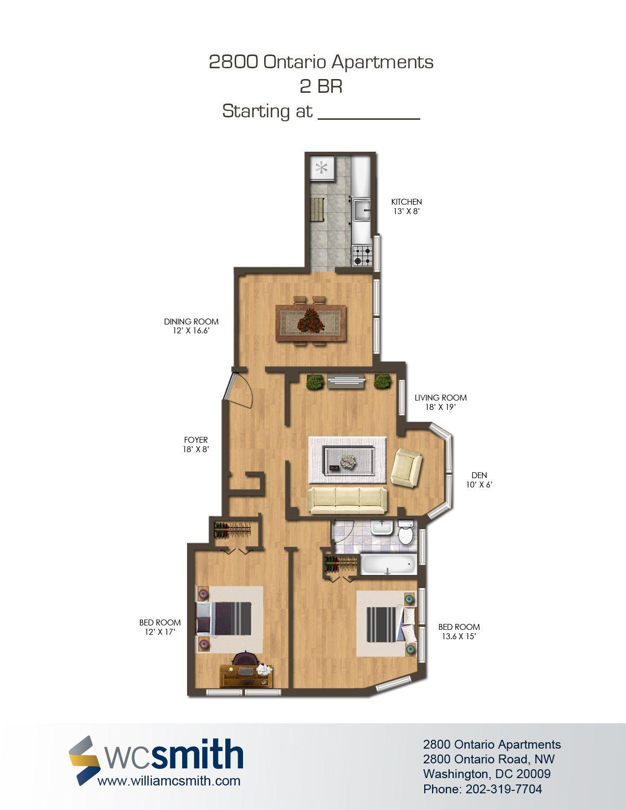 2 Bedroom Floor Plan 2800 Ontario In Northwest Washington Dc Wc Smith Apartments Adams 2 Bedroom Floor Plans Washington Dc Apartment Bedroom Floor Plans