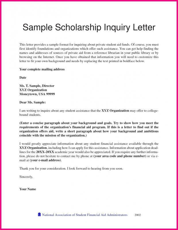 Scholarship Letter Sample Free Cover Letter