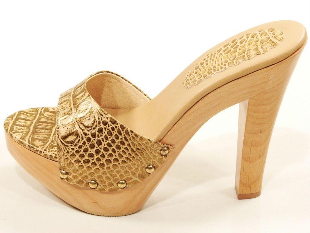 8bad2464b4 Soca Madeira De Salto Alto Plataforma Slides sandálias tamancos de couro  dourado Réptil Impressão