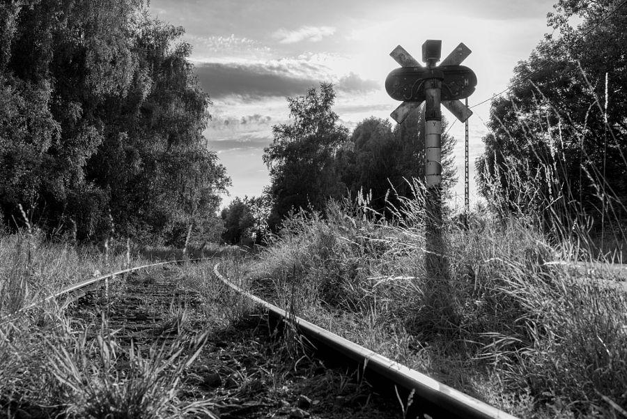 Railroad Crossing on sunset