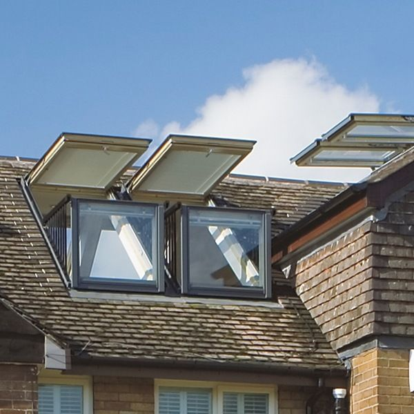 Balcony velux cabrio modern home slope roof window balcony for Balcony window