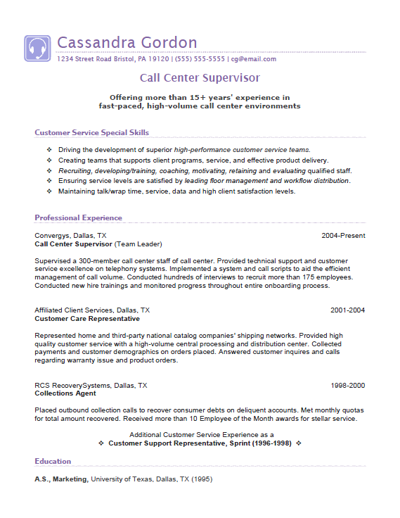 Creative Ideas Call Center Elegant Supervisor Resume