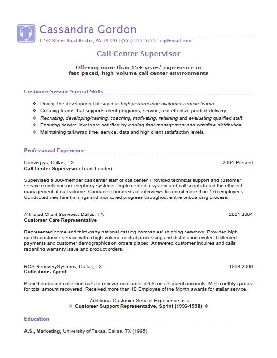 Call Center Supervisor Resume Example Resume Sample