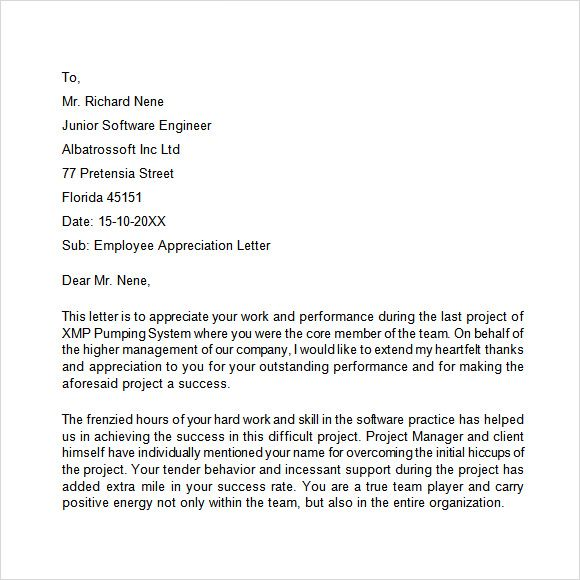 appreciation letter free samples examples format employee letters - appreciation letters pdf
