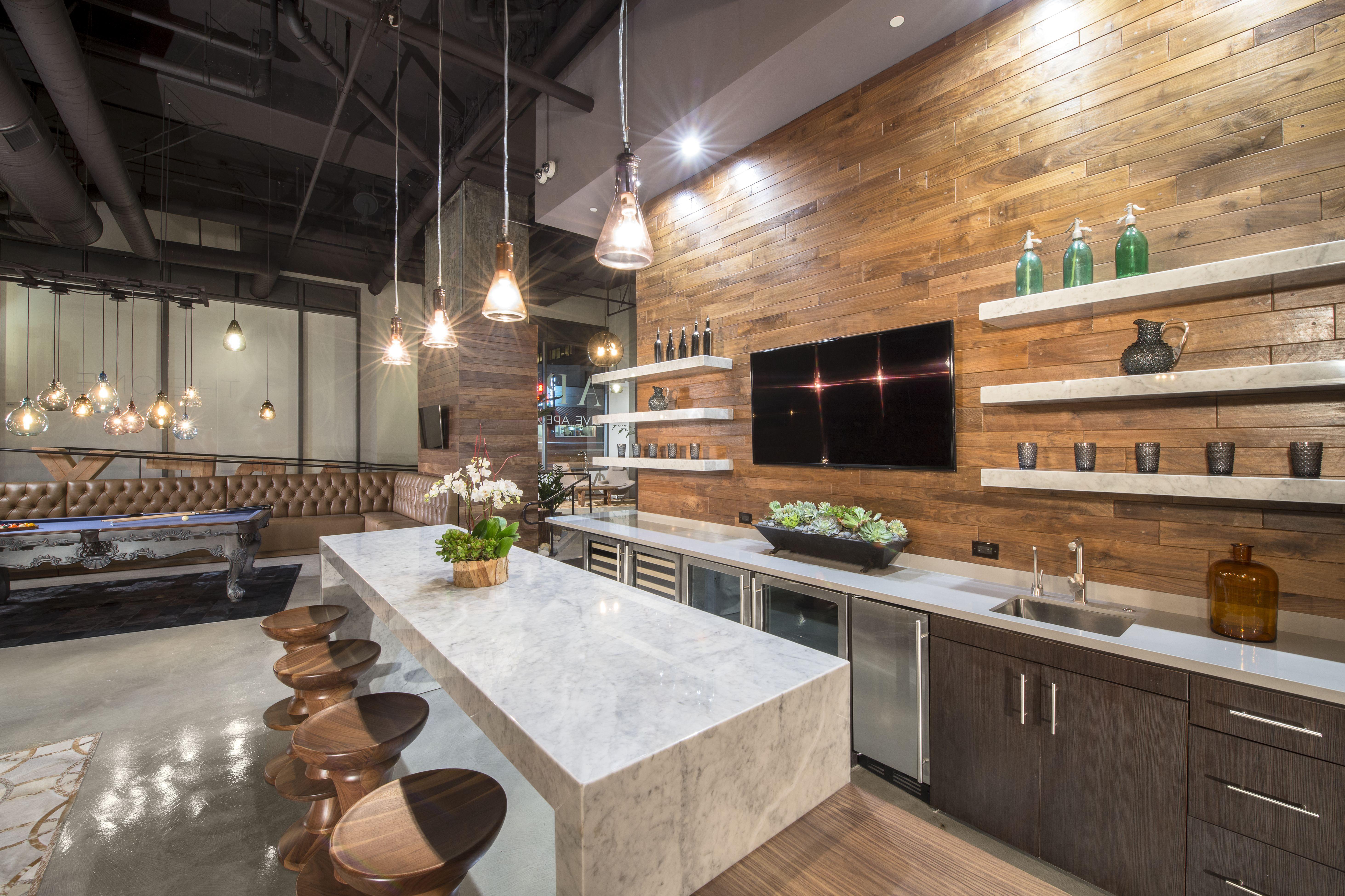 Lovable Modern Kitchen Decors With Wood Backsplash Also White