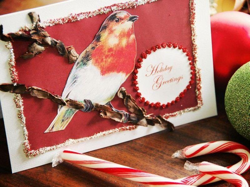 Weihnachtskarten basteln - DIY Projekt mit Vogel-Motiv