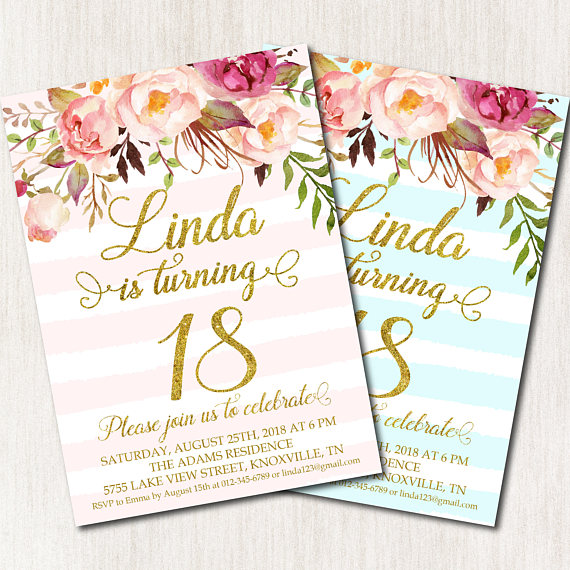 18th Birthday Invitation Eighteenth Party Floral Pink Turquoise Stri