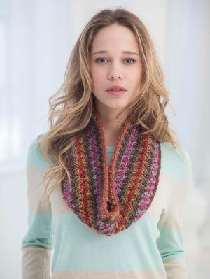 Textured Cowl Uses Only 1 Skein Of Lion Brand Landscapes Very Cool